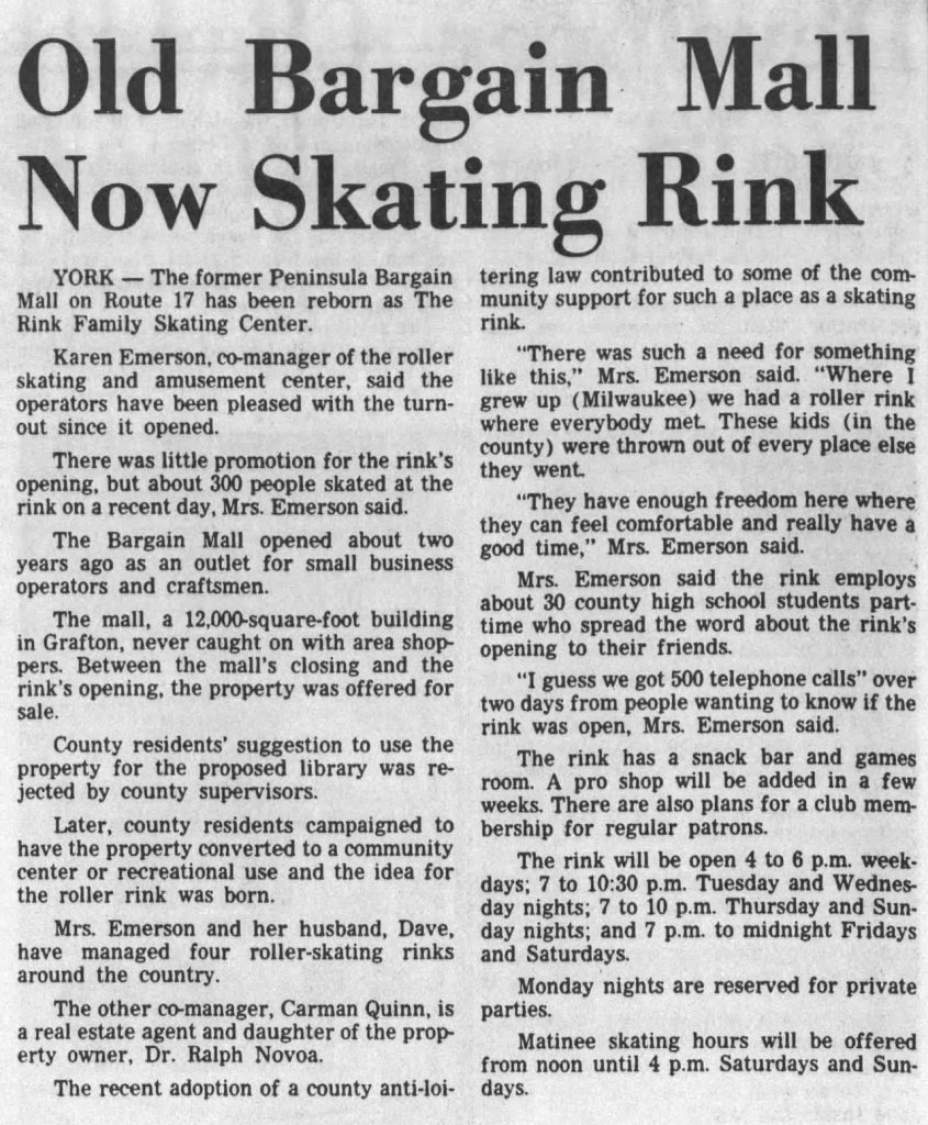 Newspaper clipping from March 10, 1983 Daily Press about The Rink opening