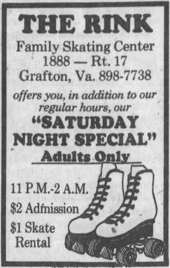 Newspaper ad for The Rink from July 1984 Daily Press